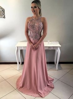 Halter Neck Crystal Beads Prom Dresses Sexy Criss Cross Floor Length Formal Evening Gown
