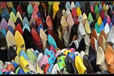 Shoes in a stall at the Old Medina, Tangier, Morocco
