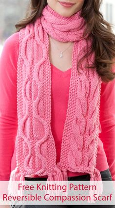 Free Knitting Pattern for Reversible Cable Compassion Scarf - This scarf features an amazing, reversible cable pattern that looks wonderful from either side. Use either written instructions or chart. Designed by Ann Regis. Dishcloth Knitting Patterns, Lace Knitting, Baby Sweater Patterns, Quick Knits, Knitted Poncho, Pattern Fashion, Fashion Details, Fashion Fashion, Lana