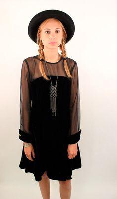 rad, no? // BLACK SWAN 90s Black Velvet Sheer Mini Dress $39 i dont like the sleeves