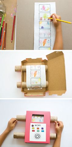 Get creative with your kid-friendly activities this spring and craft this Easy DIY Recycled Cardboard TV with your kids. Putting hand-drawn art inside of this handmade contraption allows your kids to scroll through all the beautiful things that they've made!