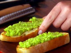 Yummy green appetizer treat for St. Patrick's Day! Pea Pesto Crostini recipe from Giada De Laurentiis