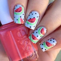Watermelon nails designs are fairly easy to replicate, but more so than that, they're the absolute perfect summer accessory. Watermelon Nail Designs, Watermelon Nail Art, Watermelon Patch, Nails For Kids, Girls Nails, Kid Nails, Girls Nail Designs, Toe Nail Designs, Cute Nails