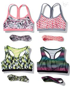 The right gear for your get-up-and go! Hit the ground running in printed racer back sports bras and made-to match head wraps.