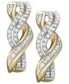 Diamond Earrrings, 14k Gold Diamond Twist Earrings (1/2 ct. t.w.)