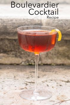 Follow our bourbon Boulevardier cocktail recipe and make the classic cocktail at home in just five minutes. | Bourbon Boulevardier| Bourbon Boulevardier Recipe | Boulevardier Cocktail | Classic Cocktail | Buffalo Trace Bourbon Cocktails, Classic Cocktails, Cocktail Recipes, Boulevardier Cocktail Recipe, Luxardo Maraschino Cherries, Buffalo Trace, Orange Twist, Drinking Around The World, All Beer