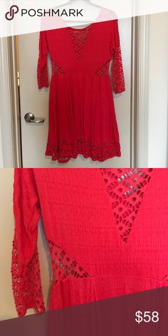 ONLY WORN ONCE free people dress ONLY WORN ONCE Free People Dress - adorable detailing at the waist, neckline, sleeves, and hemline. Super soft material and A-Line is very flattering. Wore in engagement pics and haven't had a need for it since! Free People Dresses Mini