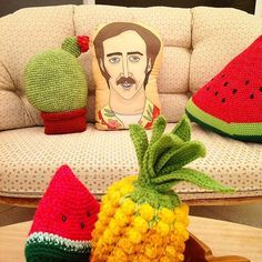 "Nick says (in Southern accent) - ""Why Terese, I lurve your crochet"". I reply ""Thank you Nick, I'm so glad you like it"". I love my Nicholas Cage cushion @laurie_melia - he's so easy to talk to.☺️ #nickcage #niccage PAS DE PATTERN-COOL NICOLAS CAGE COUSSIN_ MELON DEAU_ ANANAS ETC #nicholascage #cushion #pillow #craycray #handmadeinwa #handmade #crochet #crochetcushions #crochetfruit #crochetcactus ##pineapple ##watermelon #"