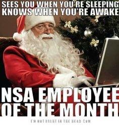 Santa Claus, NSA employee of the month, humor, funny, meme, surveillance, holiday, Christmas