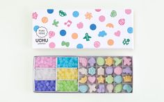 To know more about uchu wagashi fukiyose KIT, visit Sumally, a social network that gathers together all the wanted things in the world! Featuring over 29 other uchu wagashi items too! Japanese Sweets, Cakes And More, Packaging Design, Woodworking, Kawaii, Graphic Design, Sweet Ideas, Flamingo, Basket