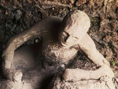 Body of Man Petrified by Ash from Eruption of Vesuvius in 79 AD, Pompeii,