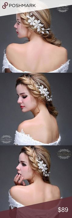 Pearl and Crystal Bridal Floral Hair Comb Jewelry Bring a touch of elegance vintage to your wedding day ensemble with this irresistible bridal floral hair comb.   Color : Gold Pearl color : Ivory  Metal : Zinc Alloy  We offer gift box with note card message (please see available options below)  •To my bridesmaid •To my maid of honor •To my matron of honor •To my mother •To my mother-in-law •To my daughter •Thank you LINQLA Accessories Hair Accessories