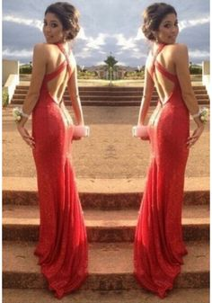 Backless Long Red Keyhole Trumpet Mermaid Prom Dress Cwb0162