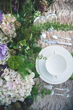Hydrangea centerpiece | Bit of Ivory Photography & Palette of Petals | see more on: http://burnettsboards.com/2014/05/disneys-maleficent-inspired-wedding/ #placesetting