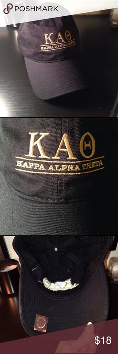 New vintage kappa alpha theta baseball  cap Brand new, bought it and then received a similar hat as a gift. Black with gold embroidery. Link: http://thesociallife.com/collections/kappa-alpha-theta/products/kappa-alpha-theta-vintage-ball-cap Accessories Hats