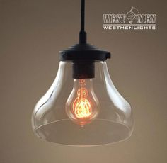 Bell 1 Light Clear Glass Pendant Hanging LampsHanging