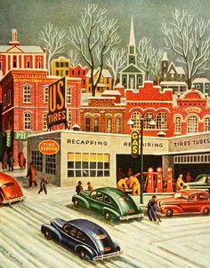Mid-Century Modern – Christmas – Village – Town – Old Cars – Vintage – Gasstat … - Vintage and Retro Cars Christmas Scenes, Christmas Past, Modern Christmas, Retro Christmas, Christmas Holidays, Gravure Illustration, Illustration Noel, Christmas Illustration, Vintage Christmas Images