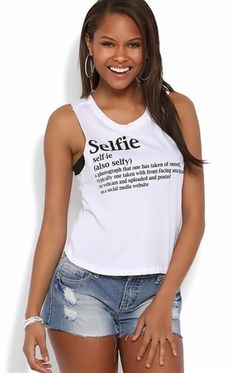 Deb Shops Crop Tank Top with #Selfie Definition Screen $10.00