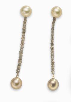 ANN GERARD GOLD PEARLS EARRINGS AND DIAMONDS