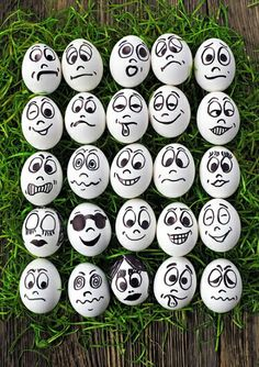 White eggs and many funny faces Stock Photo Egg Crafts, Easter Crafts, Diy And Crafts, Kids Crafts, Pebble Painting, Pebble Art, Stone Painting, Stone Crafts, Rock Crafts
