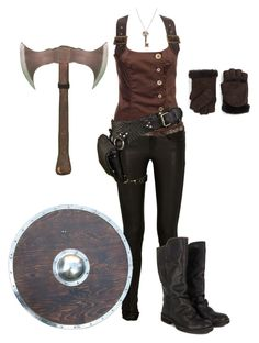 A fashion look from October 2015 by gone-girl featuring Hell Bunny, Helmut Lang, Annabelle New York y Shield Vikings Costume Diy, Lagertha Costume, Viking Halloween Costume, Vikings Halloween, Female Viking Costume, Viking Cosplay, Warrior Costume, Barbarian Costume, Viking Warrior Woman