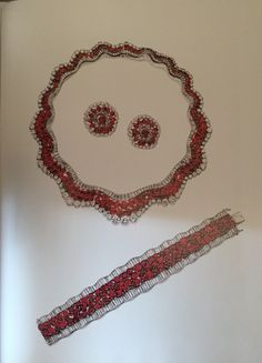Maria Callas Ruby and Diamond Parure~ necklace! bracelet! and earrings.