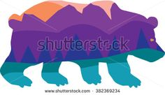 Bear Silhouette With Woodland Camping Sunset Mountains Wilderness Forest Scene