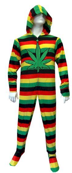 Weedman Route 420 Adult Footie Onesie Pajamas with Hood for men #Rosta #Marijuna #Cannabis