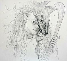 """cyran9: """" An amazing sketch of Solas, the Dread Wolf made for me by ellieraptor! The detail is amazing, and look at those long locks of hair! This is so gorgeous! Thank you, ellieraptor, your work is..."""