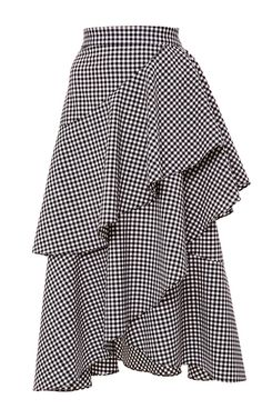 This **Marissa Webb** Dom Gingham Asymmetric Ruffle Skirt features a high rise, all over gingham pattern, and tiered, A-line silhouette. High Waisted Plaid Skirt, Gingham Skirt, Ruffle Skirt, Dress Skirt, Waist Skirt, Ruffles, Modest Fashion, Diy Fashion, Fashion Outfits