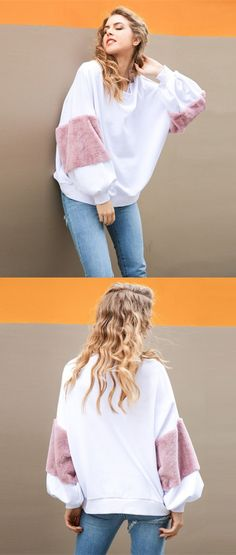 modest white oversized sweatshirts, fashion girl outfits for winter, crewneck street style tops for women