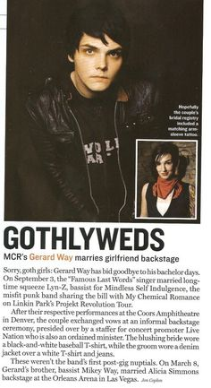 Shouldn't they have put a picture of Gerard and Lindsey together for that headline?