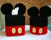 Disney Mickey Mouse Crochet Pattern Set - Tissue Box and Toilet Paper Covers
