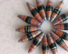 20 Oval Paper Beads #black #orange #purple #silver