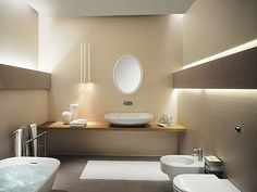 Light minimalist small bathroom - nice lightning