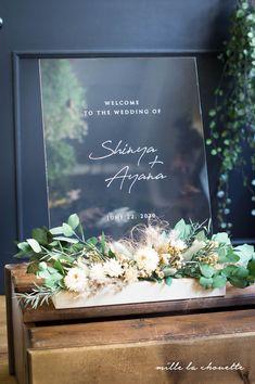 ユーカリ×ヘリクリサムのアクリルクリアウェルカムボード   Online store – ミルラシュエット Wedding Welcome Board, Welcome Boards, Wedding Backdrop Design, Wedding Decorations, Wedding Images, Diy Wedding, Invitation Card Design, Invitations, Flannel Flower