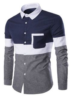Turn-Down Collar Color Block Spliced Design Print Long Sleeve Shirt For Men