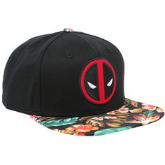 Marvel Deadpool Floral Sublimated Bill Snapback Hat ($15) ❤ liked on Polyvore featuring accessories, hats, multi, embroidery hats, floral snapback hat, floral snapbacks, embroidered hats and embroidered snapback hats