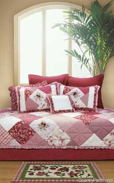 The Country Porch features the Scarlett quilt, pillow sham and bedding accessories from C&F Enterprises. Rag Quilt, Scrappy Quilts, Quilt Bedding, Bedding Sets, Quilt Pillow, Chic Bedding, Country Quilts, Country Porches, Southern Porches