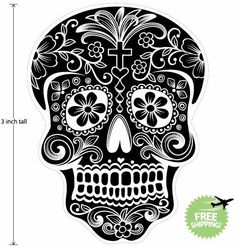 3 inch Mexican Sugar Skull Phone Decal Sticker Day of the Dead #16