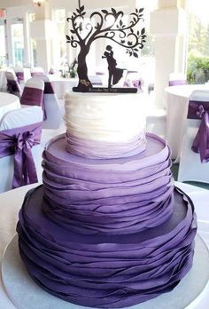 Fantastic Ombre Wedding Cakes Wedding planning ideas inspiration Wedding dresses decor and lots Purple Cakes, Purple Wedding Cakes, Wedding Cake Rustic, Beautiful Wedding Cakes, Wedding Cake Toppers, Wedding Colors, Dream Wedding, Purple Wedding Decorations, Purple Party