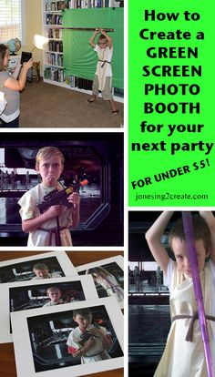 """Best idea EVER for a kids' birthday party. Make a simple green screen photo booth with an app and sheet. We did this for a Star Wars party, but it would also be amazing to have a Frozen party with the girls singing """"Let it Go"""" in front of the ice castle!"""