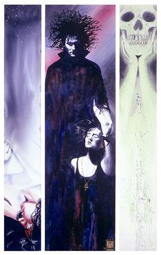 Sandman: Triptych Art Print by kenmeyerjr - X-Small Neil Gaiman, Morpheus Sandman, Death Sandman, Delirium Sandman, Comic Collage, Triptych Art, Vertigo Comics, Drawn Art, Zuko