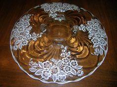 flowery cake plate