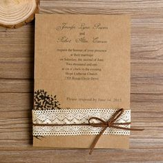 rustic love tree lace wedding invitations EWLS011 |