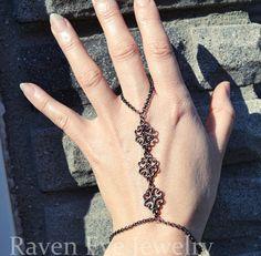 Gothic flourish filigree cage bracelet hand jewelry