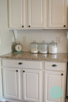 She describes each step in updating her kitchen. Love the pieces under the cabinet.