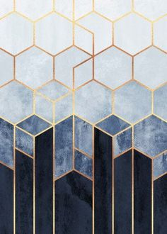 Want a metal print copy?: Visit Store Description: Soft Blue Hexagons by Elisabeth Fredriksson Tape Art, Geometric Poster, Abstract Posters, Abstract Geometric Art, Geometric Shapes, Hexagon Pattern, Quilt Pattern, Purple Aesthetic, Poster Prints