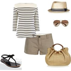 "Cute little ""boat"" outfit. Minus the hat and a different style of sunglasses, because I look weird in aviators."