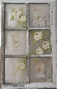 SBG loves this idea for backing recycled windows used for background in the garden.  So feminine!